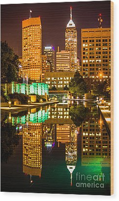 Indianapolis Skyline At Night Canal Reflection Picture Wood Print by Paul Velgos