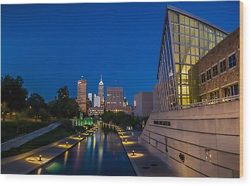 Indianapolis Skyline From The Canal At Night Wood Print by Ron Pate