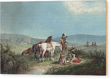 Indians Playing Cards Wood Print by John Mix Stanley