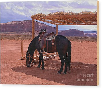 Indian's Pony In Monument Valley Arizona Wood Print