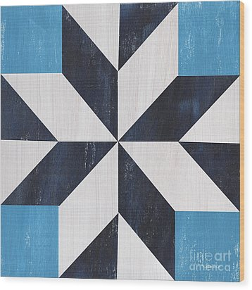 Wood Print featuring the painting Indigo And Blue Quilt by Debbie DeWitt
