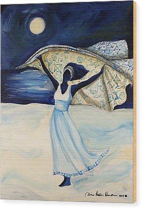 Wood Print featuring the painting Indigo Beach by Diane Britton Dunham