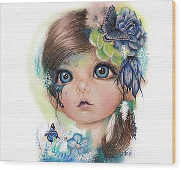 Wood Print featuring the mixed media Indigo - Butterfly Keeper - Munchkinz By Sheena Pike  by Sheena Pike