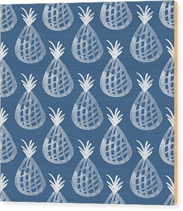 Indigo Pineapple Party Wood Print by Linda Woods