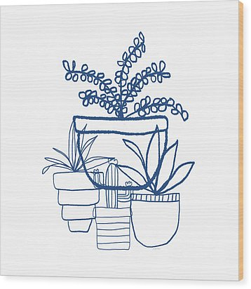 Wood Print featuring the mixed media Indigo Potted Succulents- Art By Linda Woods by Linda Woods
