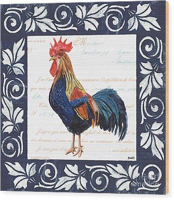 Indigo Rooster 2 Wood Print by Debbie DeWitt