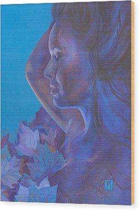 Indigo Serene Wood Print by Ragen Mendenhall