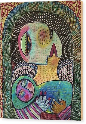 Indigo Tapestry Angel Mother And Child Wood Print by Sandra Silberzweig