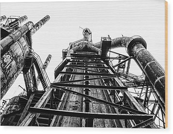 Industrial Age - Bethlehem Steel In Black And White Wood Print by Bill Cannon
