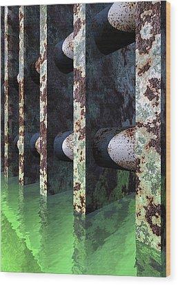 Industrial Disease Wood Print by Richard Rizzo