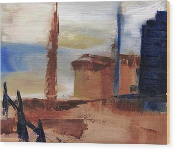Wood Print featuring the painting Industrial by Patricia Cleasby
