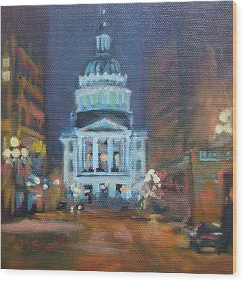 Indy Government Night Wood Print by Donna Shortt