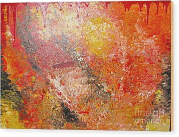 Wood Print featuring the painting Inferno by Jacqueline Athmann