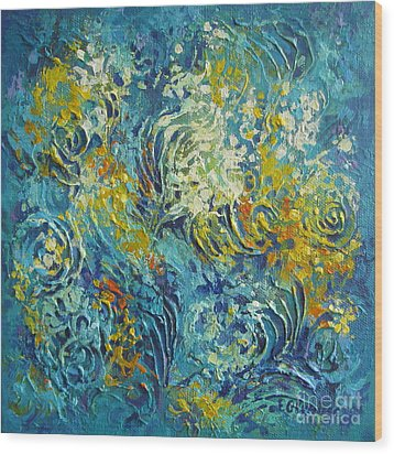 Wood Print featuring the painting Inflorescence 2 by Elena Oleniuc