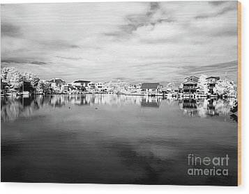Infrared Beach Houses On The Water Wood Print by John Rizzuto