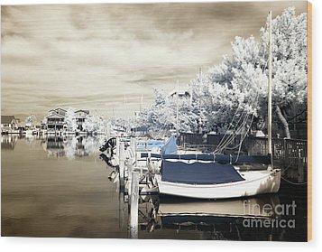 Infrared Boats At Lbi Blue Wood Print by John Rizzuto