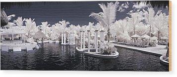 Infrared Pool Wood Print by Adam Romanowicz