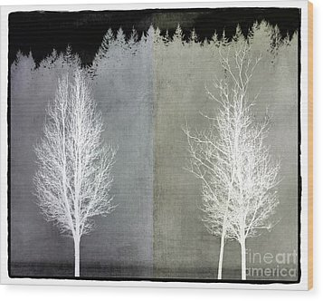 Infrared Trees With Texture Wood Print by Patricia Strand