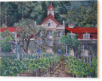Wood Print featuring the painting Inglenook Winery Napa Valley  by Gail Chandler