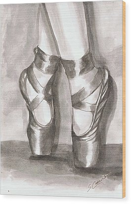 Ink Wash En Pointe Wood Print by Sarah Farren
