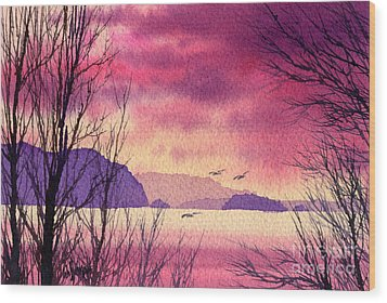 Wood Print featuring the painting Inland Sea Islands by James Williamson