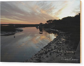 Inlet Sunset Wood Print