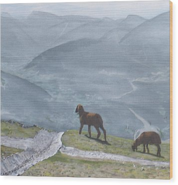 Wood Print featuring the painting Innsbruck Austria by Betty-Anne McDonald