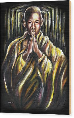 Inori Prayer Wood Print by Hiroko Sakai