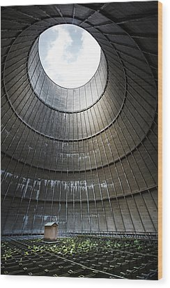 Wood Print featuring the photograph Inside Industrial Cooling Tower Stands A Mysterous Little House by Dirk Ercken