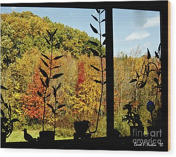 Inside Looking Outside At Fall Splendor Wood Print by Carol F Austin