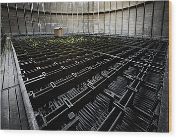 Wood Print featuring the photograph Inside Of Cooling Tower - Industrial Decay by Dirk Ercken