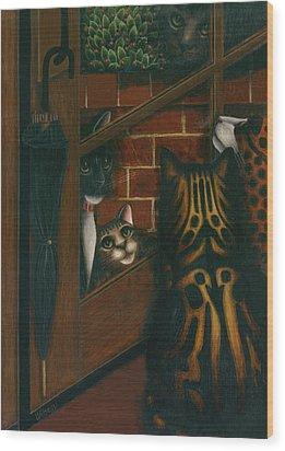 Inside Outside Cats Wood Print by Carol Wilson