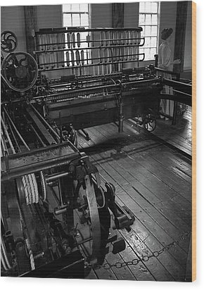 Inside Slater Mill Wood Print