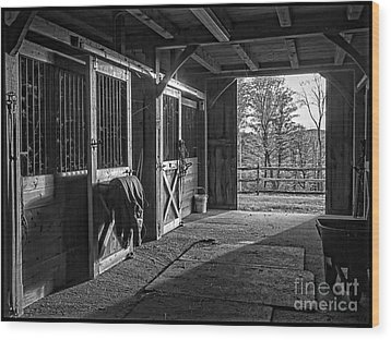Wood Print featuring the photograph Inside The Horse Barn Black And White by Edward Fielding