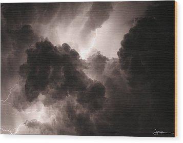 Inside The Storm Wood Print