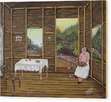 Inside Wooden Home Wood Print by Gloria E Barreto-Rodriguez