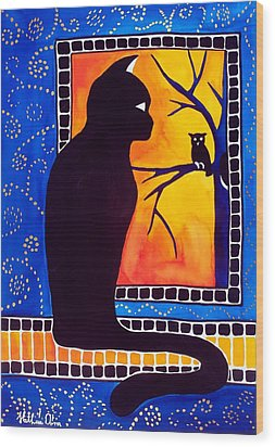 Insomnia - Cat And Owl Art By Dora Hathazi Mendes Wood Print