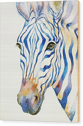 Intense Blue Zebra Wood Print