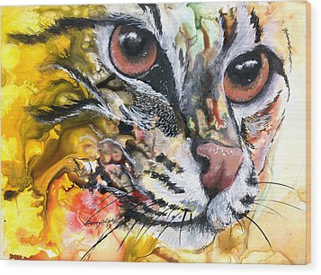 Wood Print featuring the painting Intensity by Sherry Shipley