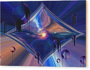 Wood Print featuring the digital art Interdimensional Portal by Linda Sannuti