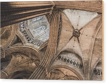 Interior Barcelona Cathedral Wood Print by Chas Hauxby