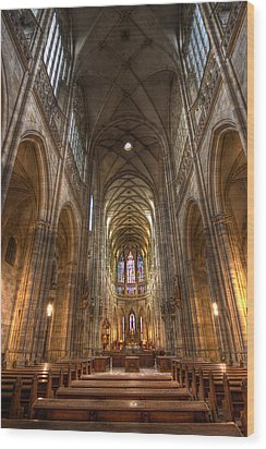 Wood Print featuring the photograph Interior Of Saint Vitus Cathedral by Gabor Pozsgai