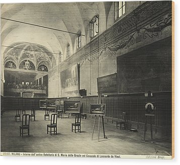 Interior Of The Dining Hall Of The Church Of Santa Maria Delle Grazie Milan Wood Print by Alinari