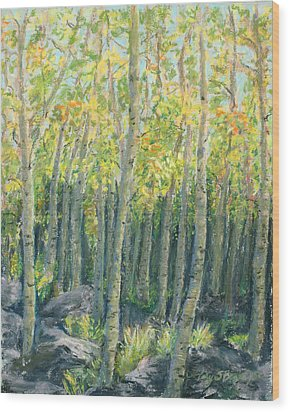 Into The Aspens Wood Print