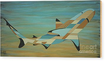 Into The Blue Shark Painting Wood Print