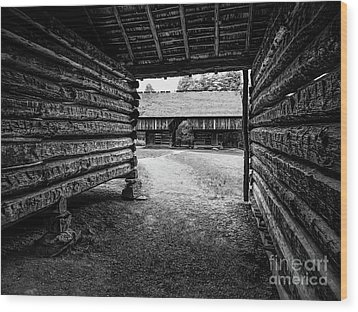 Into The Dogtrot Barn Wood Print by Elijah Knight