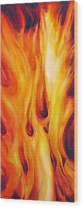 Into The Fire Wood Print by Nancy Newman