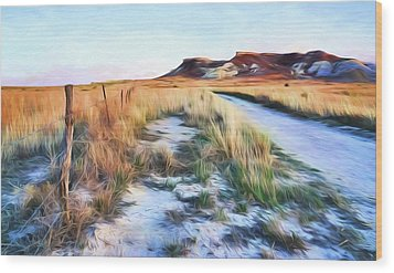 Wood Print featuring the digital art Into The Kansas Badlands by Tyler Findley