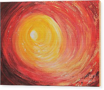 Wood Print featuring the painting Into The Light by Teresa Wegrzyn