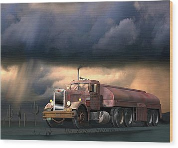 Wood Print featuring the digital art Into The Storm by Stuart Swartz